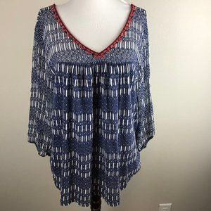 Lucky Brand 3/4 Sleeve Tunic Top Plus Size 1X Navy